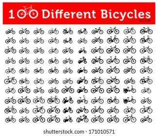 100 Different Bicycle Silhouette