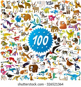 100 different vector bright color cartoon animals, dinosaurs and birds for children abc education or flash card mobile games or book illustration