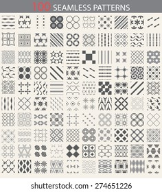 100 different vector seamless patterns. Endless texture can be used for wallpaper, pattern fills, web page background,surface textures. Set of monochrome geometric ornaments.