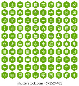 100 discussion icons set in green hexagon isolated vector illustration