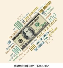 A 100 dollar bill typographic design