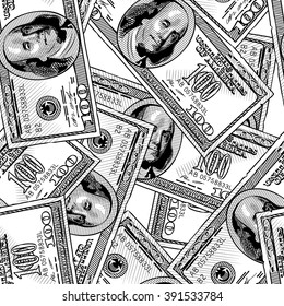 100 dollars bank notes seamless pattern background. Vintage engraving stylized drawing. Vector illustration