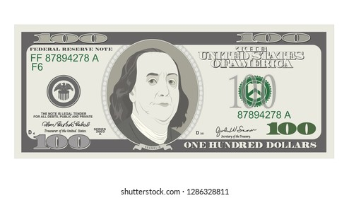 100 Dollars Banknote. Bill one hundred dollars. Suitable for discount cards, coupon, flyer, vouchers. USA banking currency. Vector, flat style. American president Benjamin Franklin.