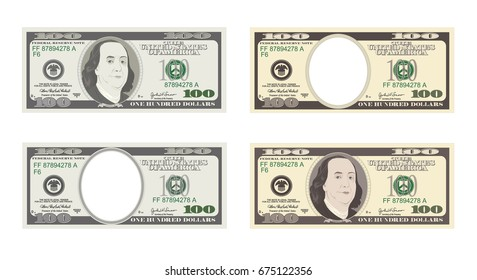 100 Dollars Banknote. Bill one hundred dollars. Suitable for discount cards, leaflet, coupon, flyer, vouchers. USA banking currency. Vector in flat style. American president Benjamin Franklin