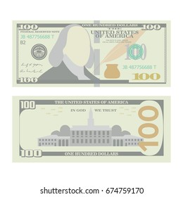 100 Dollars Banknote Vector. Cartoon US Currency. Two Sides Of One Hundred American Money Bill Isolated Illustration. Cash Symbol 100 Dollars