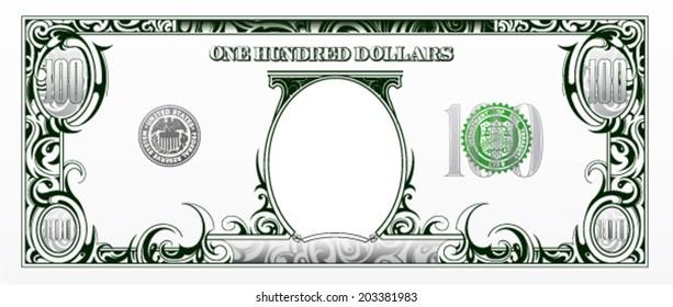 100 dollars bill. Cartoon money