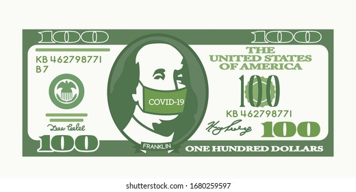 100 dollars us dollar bill. Benjamin Franklin put on a medical mask with the inscription Covid-19 virus. The Chinese Crown Virus affects the global economy of America and the world stock market.
