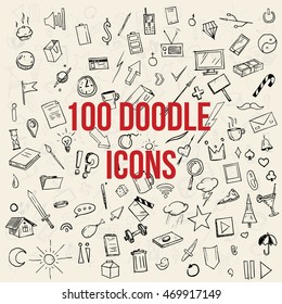 100 Doodle icons set. Doodle pack, hand drawn
