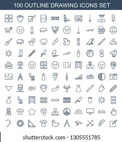 100 drawing icons. Trendy drawing icons white background. Included outline icons such as paper and pen, feather, shovel and rake, cangaroo, compass. drawing icon for web and mobile.