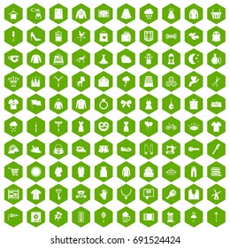 100 dress icons set in green hexagon isolated vector illustration
