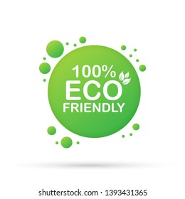 100% Eco friendly green leaf label sticker. Vector illustration.