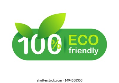 100% Eco friendly sign - isolated vector sticker for certified qualitative healthy products
