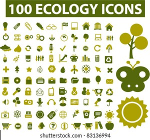100 ecology icons, signs, vector illustrations set