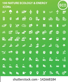 100 Ecology, Nature & Energy icons,vector