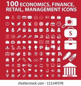 100 economics, finance, retail, management icons set, vector