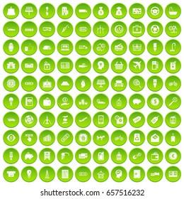 100 economy icons set green circle isolated on white background vector illustration