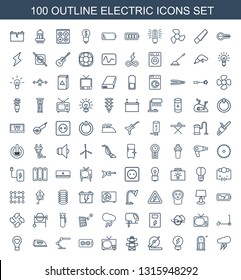 100 electric icons. Trendy electric icons white background. Included outline icons such as thunderstorm, pendulum, bulb, circular saw, pylon. electric icon for web and mobile.