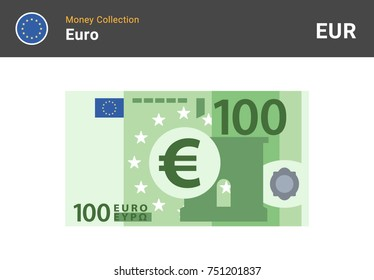 100 Euro banknote. Paper money. Flat Style. Vector illustration.