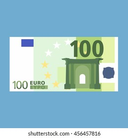 100 Euro banknote. Simple, flat style. Graphic vector illustration.