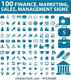 100 finance & marketing, sales signs. vector