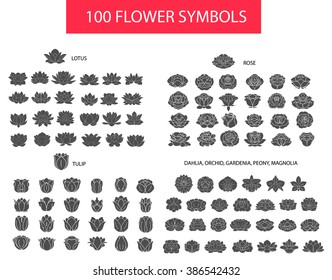 100 flower thin line flat modern icons. Hand drawn silhouette vector set, rose, lotus, tulip, dahlia, peony, gardenia collection isolated on white background, logo, sign, symbol outline collection.