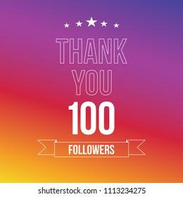 100 followers. Vector illustration in flat style