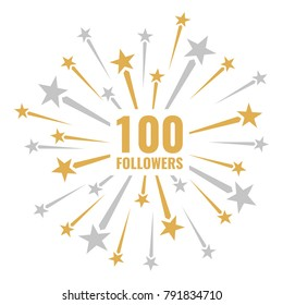 100 followers, vector illustrations with golden and silver fireworks