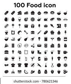 100 food and drink black vector icon set