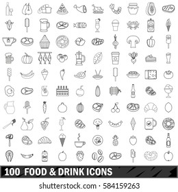 100 food and drink icons set in outline style for any design vector illustration