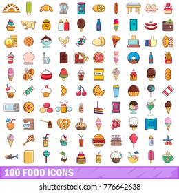 100 food icons set. Cartoon illustration of 100 food vector icons isolated on white background