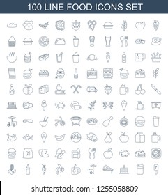 100 food icons. Trendy food icons white background. Included line icons such as ice cream on stick, pepper, cake with one candle, pizza, fast food cart. food icon for web and mobile.