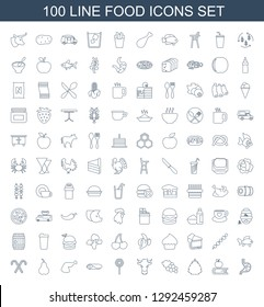 100 food icons. Trendy food icons white background. Included line icons such as stomach, apple on book, berry, Grape, cow, lollipop, wrap sandwich. food icon for web and mobile.