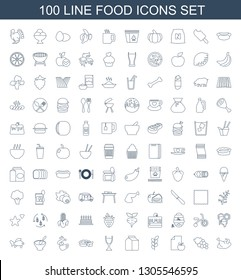 100 food icons. Trendy food icons white background. Included line icons such as chicken, Grape, paper and apple, wheat, milk, wine glass, pie, cup with heart. food icon for web and mobile.