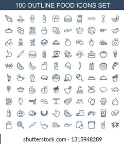 100 food icons. Trendy food icons white background. Included outline icons such as octopus, drink, pan, paper and apple, truck, teapot, butcher knife. food icon for web and mobile.