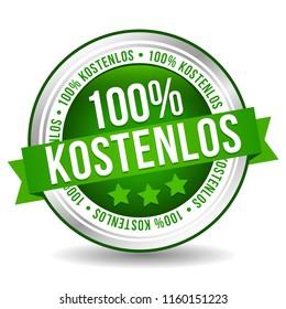100% free Badge Button Banner - German-Translation: 100% kostenlos Button