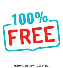 100% free. Badge icon. Flat vector illustration on white background.