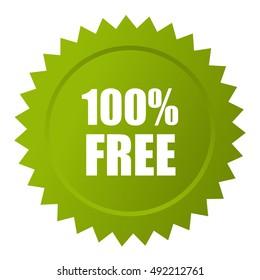 100 free icon isolated on white background. Free vector icon. Free icon eps10. Free star icon. Green free icon.