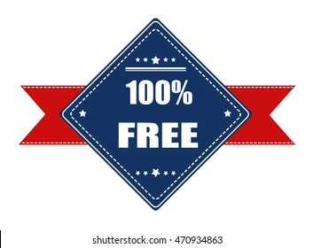 100% free label with ribbon on white background