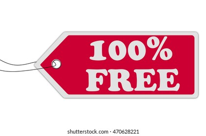 100% free  red price tag on white background