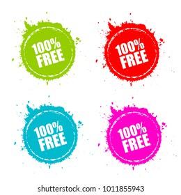 100 free round splatter set vector illustration isolated on white background