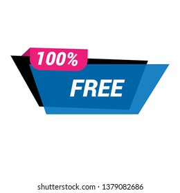 100% free sign banner - speech bubble,label,sticker