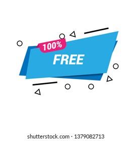 100% free sign banner - speech bubble,label,sticker