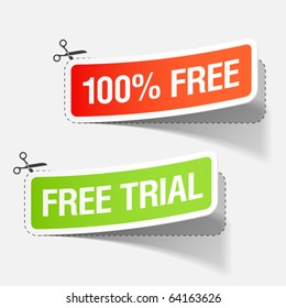 100% free and free trial labels. Vector.