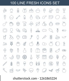 100 fresh icons. Trendy fresh icons white background. Included line icons such as apple, porridge, peas, lemon, ice cream, mushroom, clean, cucumber. fresh icon for web and mobile.