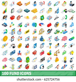 100 fund icons set in isometric 3d style for any design vector illustration