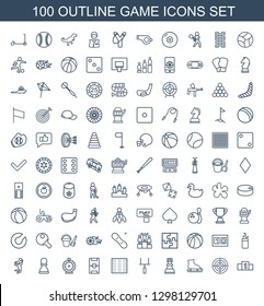 100 game icons. Trendy game icons white background. Included outline icons such as ranking, target, ice skating, chess king, goal post, field, football pitch. game icon for web and mobile.