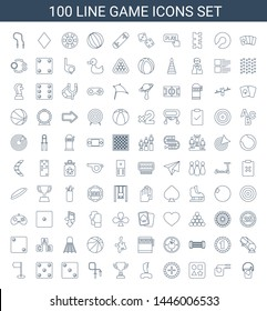 100 game icons. Trendy game icons white background. Included line icons such as bucket toy for beach, jump rope, from toy for beach, Roulette, joystick. game icon for web and mobile.