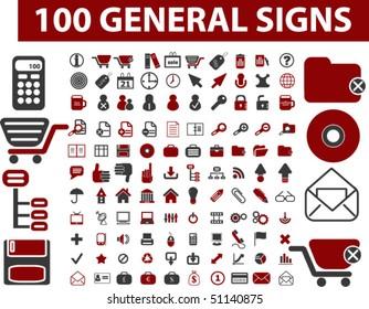 100 general signs. vector