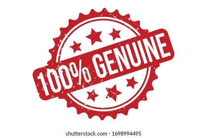 100% Genuine Rubber Stamp. Red 100% Genuine Rubber Grunge Stamp Seal Vector Illustration - Vector