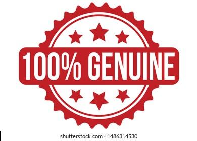 100% Genuine Rubber Stamp. 100% Genuine Stamp Seal – Vector